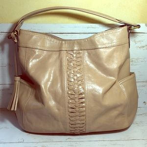 Tignanello Leather Hobo Bag With Side Pockets